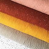 Textil - bodkovaný 100 % bavlnený mušelín hrejivé odtiene, šírka 130 cm - 11971710_