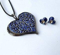 Náhrdelníky - Džínsová láska  - cínový  špek s keramikou - 11972187_
