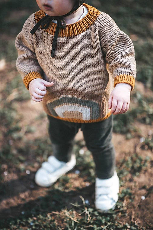 Detské oblečenie - Dúhový sveter Adam vo farbe Camel - 11971527_