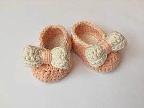 Topánočky - Topánočky peach pre maličkú - 11971635_