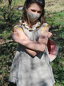 """Detské oblečenie - dievčenské ľanové krátke šaty """"Korunka"""" - 11973162_"""
