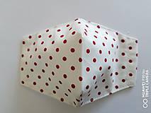 Rúška - Tvarované rúška na tvár - biele červene bodky - 11972559_