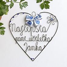 Dekorácie - srdiečko pre pani učiteľku 20cm (Modrá-FOLK) - 11976046_