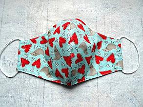 Rúška - Bavlnené rúška s drôtikom...  (Srdiečka a vtáčiky na tyrkyse) - 11976590_