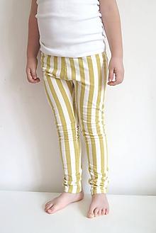Detské oblečenie - legíny z biobavlny Pruhy (žlté) - 11976698_