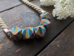 """Náhrdelníky - Malované korálky """"Picasso"""" na béžovém laně - 11977982_"""