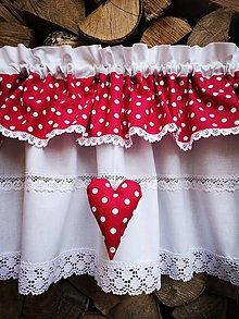 Úžitkový textil - Záclonka malinová bodka - 11974983_