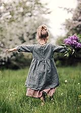 Detské oblečenie - Lněné šatičky khaki - 11974875_