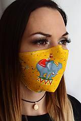 Letné rúško 2-vrstvové s drôtikom - magický žltý cirkus