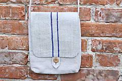 Iné tašky - Ľanová kapsička s pásikmi - 11977812_