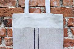 Veľké tašky - Ľanová taška s pásikmi - 11977874_