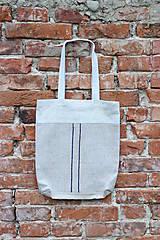 Veľké tašky - Ľanová taška s pásikmi - 11977875_