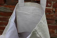 Veľké tašky - Ľanová taška s pásikmi - 11977877_
