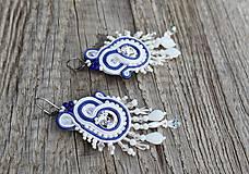 Náušnice - šujtášové náušnice bielo-modré s cingrlátkami - 11980763_