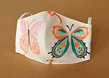 Rúška - Rúško detské - S veľkými motýľmi - 11980028_