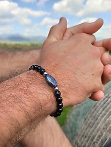 Šperky - Pánsky náramok Zafír a Ónyx - 11979964_