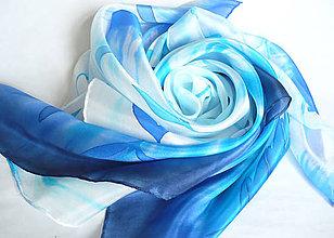 Šatky - Modré květy. Hedvábný šátek. - 11984608_