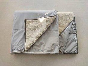 Úžitkový textil - RUNO SHOP Deka vlnená 100 % ovčie rúno Lux Elegant pastelová šedá Grey - 11982945_
