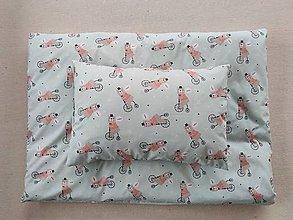 Textil - VLNIENKA Detské obliečky do postieľky na mieru  100% bavlna MINT FR MACKO na bicykli - 11983004_