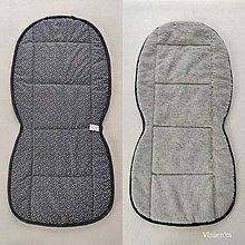 Úžitkový textil - RUNO SHOP Hrejivý sedák do auta 100 % MERINO TOP FINE proti prechladnutiu a prehriatiu Black and Grey - 11986730_