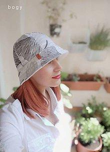 Čiapky - dámský bavlněný klobouk na jaro/léto, ginko biloba - 11983739_