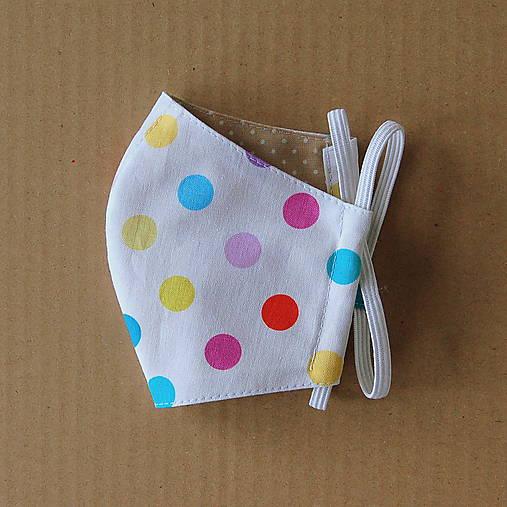 Rúško detské - Biele s farebnými bodkami