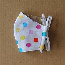 Rúška - Rúško detské - Biele s farebnými bodkami - 11984029_