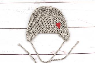 Detské čiapky - Béžová ušianka srdiečko EXTRA FINE - 11984323_