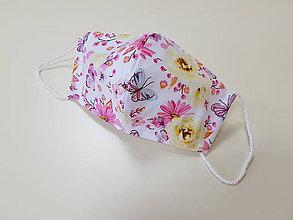Rúška - Dizajnové bavlnené - Motýle - 11986124_