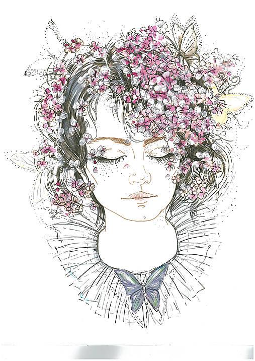Spiaca - Fashion portrét, akvarelová maľba