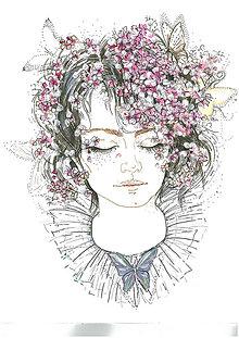 Kresby - Spiaca - Fashion portrét, akvarelová maľba - 11983684_
