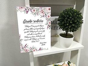 Darčeky pre svadobčanov - Svadobná tabuľka - poďakovanie rodičom  (Romantické kvetinové pozadie) - 11984048_