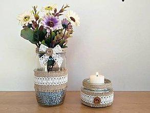 Dekorácie - Vintage set - váza so svietnikom - 11985382_