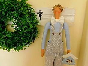 Dekorácie - Retro Boy, sivo - belasý textilný anjel - 11983808_