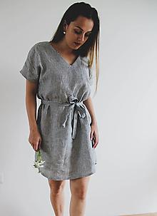 Šaty - Ľanové šaty Eliška s opaskom - 11984459_