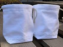 Úžitkový textil - biele vrecúško s čipkou - 11983202_