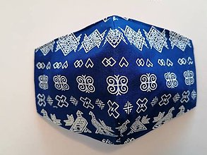 Rúška - Tvarované rúška na tvár - Modre Čičmany  - 11987278_