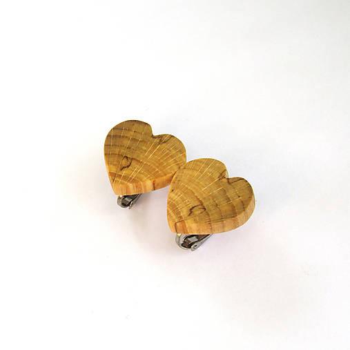 Drevené náušnice klipsňové - bukové srdiečka