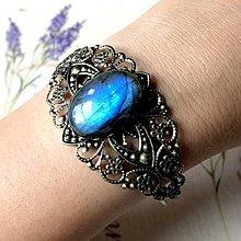 Náramky - Antique Bronze Blue Labradorite Bracelet / Obručový náramok s labradoritom - 11988682_