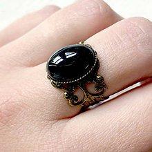 Prstene - ZĽAVA 45% Romantic Black Agate Bronze Ring / Prsteň s achátom v bronzovom prevedení - 11988777_