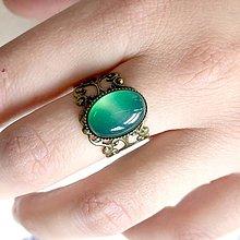 Prstene - ZĽAVA 45% Romantic Green Agate Bronze Ring / Prsteň s achátom v bronzovom prevedení - 11989161_