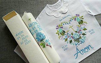 Detské oblečenie - Modré lotosy- set do krstu - 11990440_