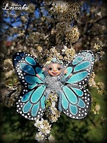 Dekorácie - Motýlia víla tyrkysová - 11991639_