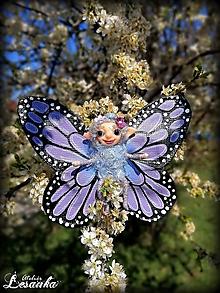 Dekorácie - Motýlia víla fialová - 11991659_
