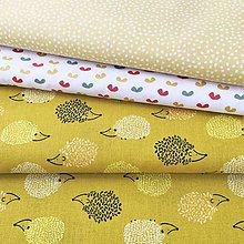 Textil - ježkovia na horčici; 100 % bavlna Francúzsko, šírka 150 cm - 11988398_