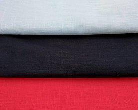 Textil - Ľan predpraný - modrý, antracit, červený - 11990984_