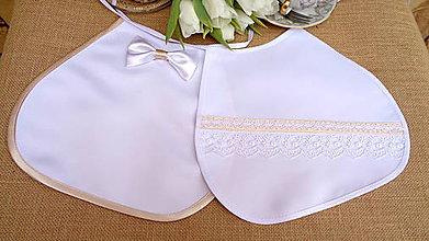 Iné doplnky - Svadobné podbradníky bielo zlaté - elegantné - 11989533_