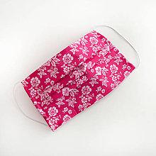 Rúška - DVOJVRSTVOVÉ cyklamenové bavlnené rúško na tvár - 100% bavlna - textilné - rúška - 11989684_