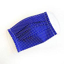 Rúška - DVOJVRSTVOVÉ bavlnené modré rúško na tvár - 100% bavlna - textilné - rúška - 11989751_