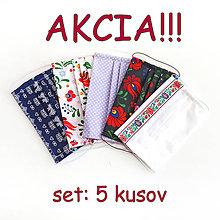 Rúška - AKCIA - set 5 kusov - DVOJVRSTVOVÉ rúška na tvár - bavlnené - 11989775_